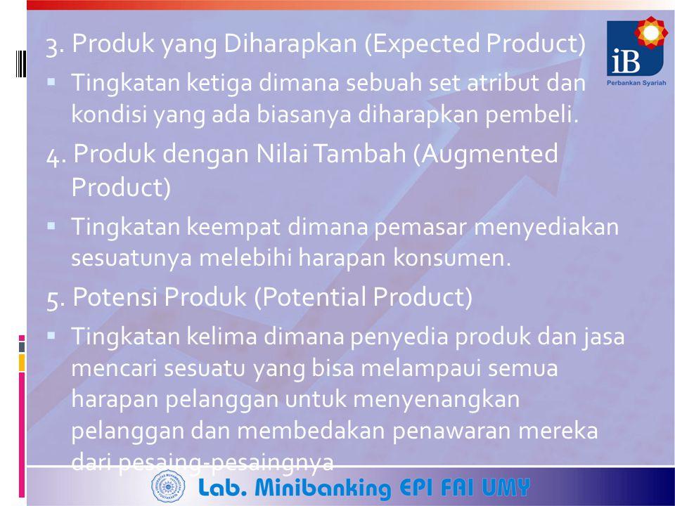 3. Produk yang Diharapkan (Expected Product)  Tingkatan ketiga dimana sebuah set atribut dan kondisi yang ada biasanya diharapkan pembeli. 4. Produk