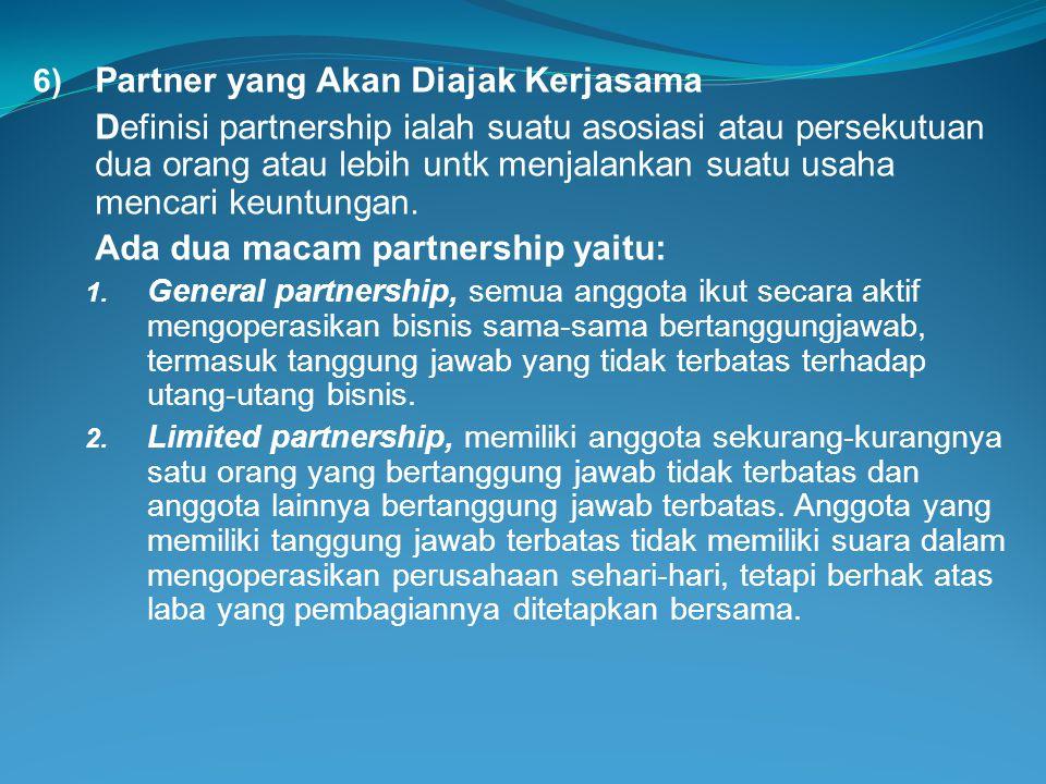 6) Partner yang Akan Diajak Kerjasama Definisi partnership ialah suatu asosiasi atau persekutuan dua orang atau lebih untk menjalankan suatu usaha men