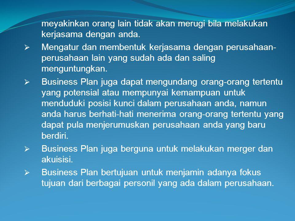  Pengertian Business Plan Business Plan adalah merupakan suatu dokumen yang menyatakan keyakinan akan kemampuan sebuah bisnis untuk menjual barang atau jasa dengan menghasilkan keuntungan yang memuaskan dan menarik bagi penyandang dana.