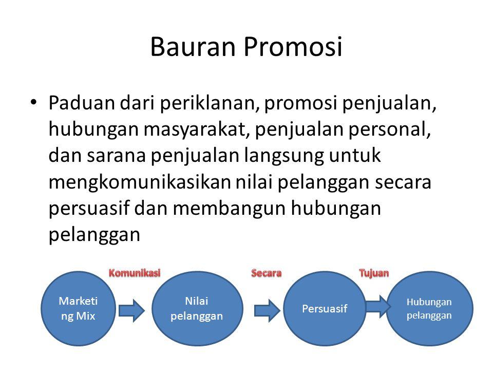 Bauran promosi • Periklanan : Presentasi terbayar, sponsorship.