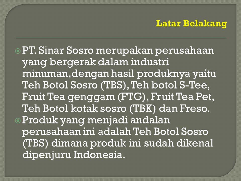  PT. Sinar Sosro merupakan perusahaan yang bergerak dalam industri minuman,dengan hasil produknya yaitu Teh Botol Sosro (TBS), Teh botol S-Tee, Fruit