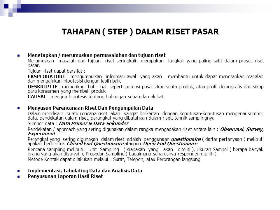 RISET PEMASARAN SUMBER : 1.Catatan Perusahaan. Catatan ini sebagai sumber informasi pemasaran.