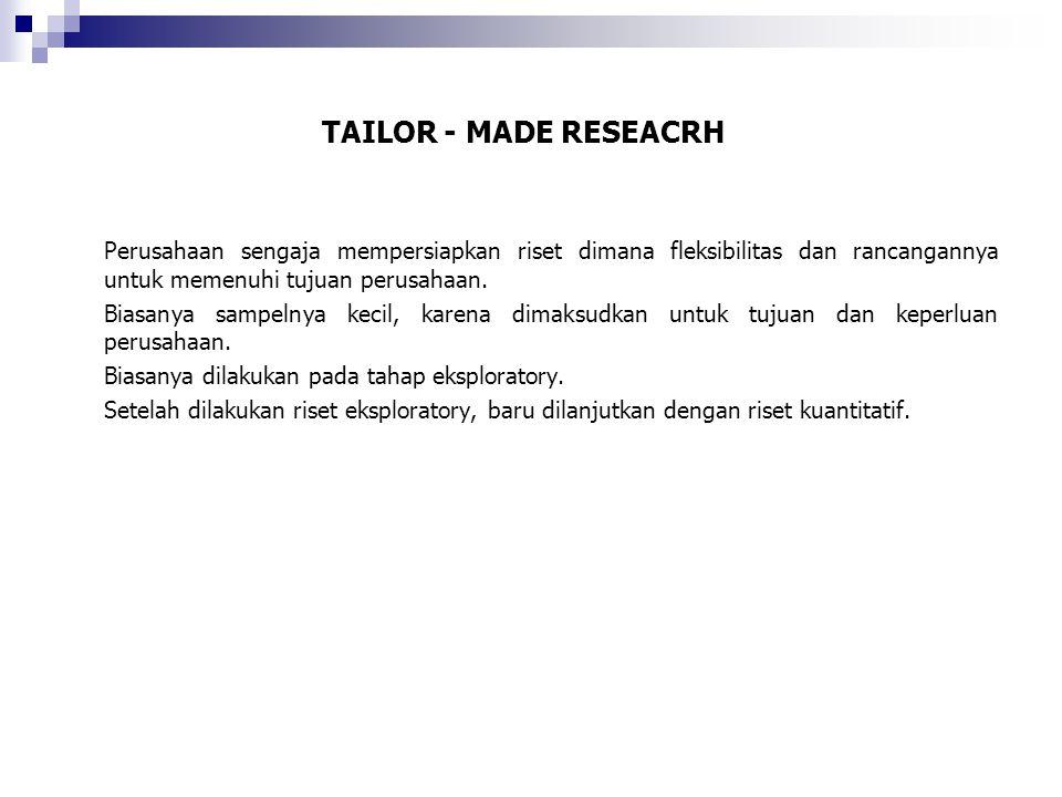 TAILOR - MADE RESEACRH Perusahaan sengaja mempersiapkan riset dimana fleksibilitas dan rancangannya untuk memenuhi tujuan perusahaan. Biasanya sampeln
