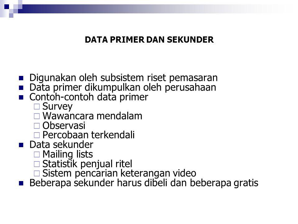 DATA PRIMER DAN SEKUNDER  Digunakan oleh subsistem riset pemasaran  Data primer dikumpulkan oleh perusahaan  Contoh-contoh data primer  Survey  W