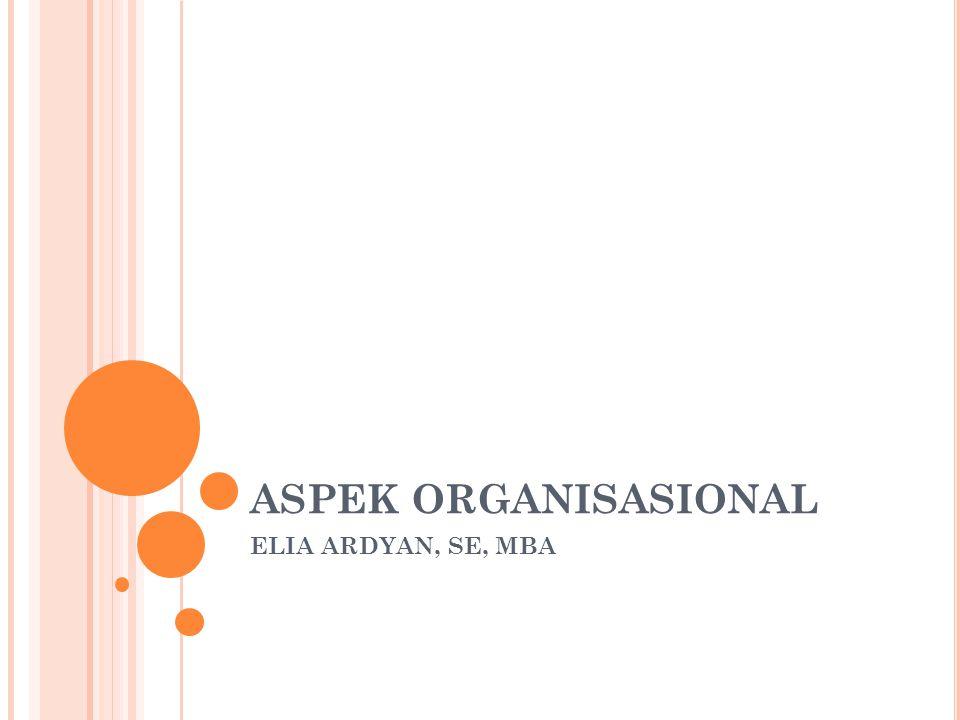 ASPEK ORGANISASIONAL ELIA ARDYAN, SE, MBA