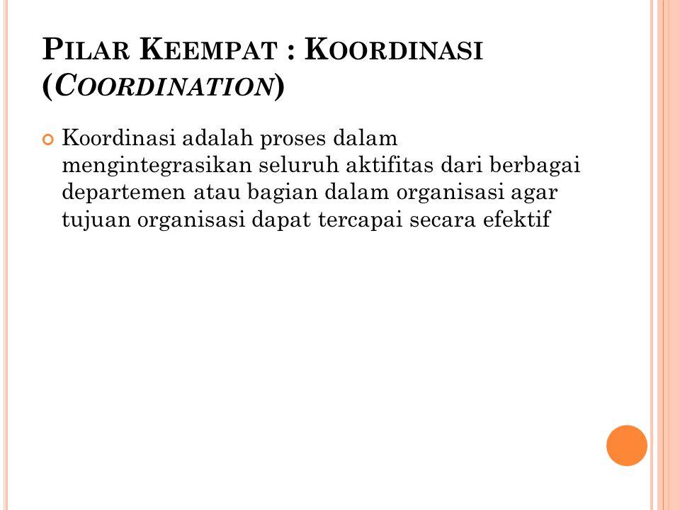 P ILAR K EEMPAT : K OORDINASI ( C OORDINATION ) Koordinasi adalah proses dalam mengintegrasikan seluruh aktifitas dari berbagai departemen atau bagian