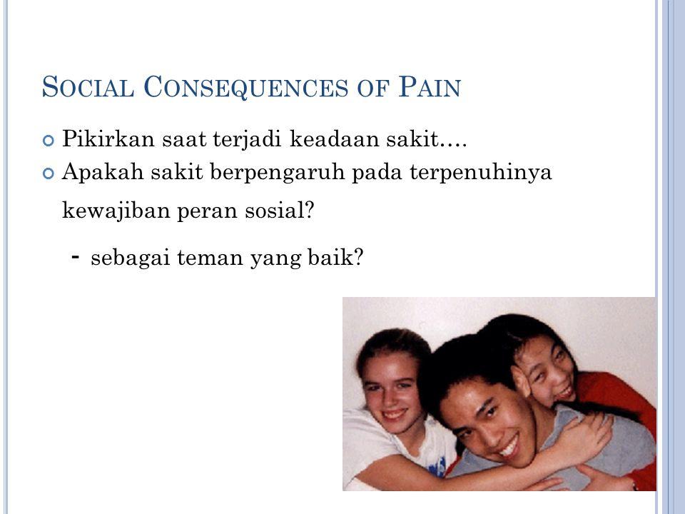 S OCIAL C ONSEQUENCES OF P AIN Pikirkan saat terjadi keadaan sakit…. Apakah sakit berpengaruh pada terpenuhinya kewajiban peran sosial? - sebagai tema