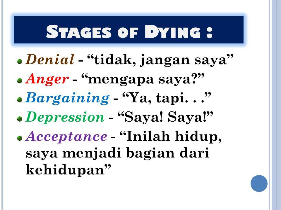 """S TAGES OF D YING : Denial - """"tidak, jangan saya"""" Anger - """"mengapa saya?"""" Bargaining - """"Ya, tapi..."""" Depression - """"Saya! Saya!"""" Acceptance - """"Inilah h"""