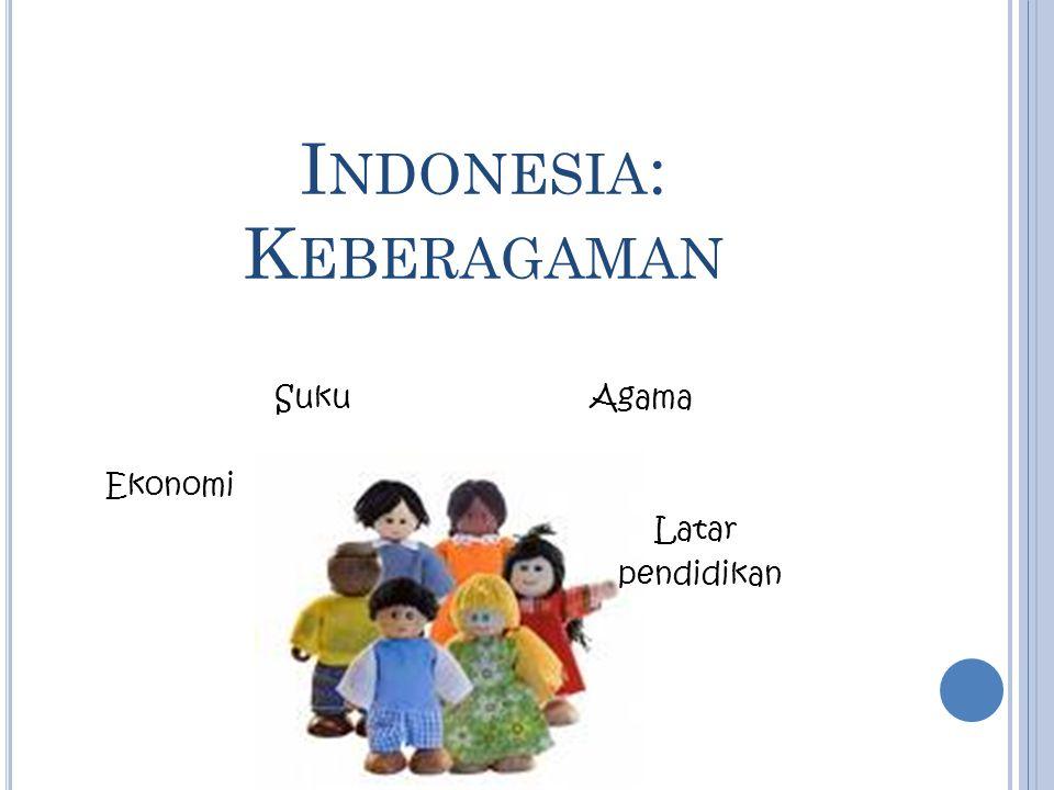 I NDONESIA : K EBERAGAMAN SukuAgama Ekonomi Latar pendidikan