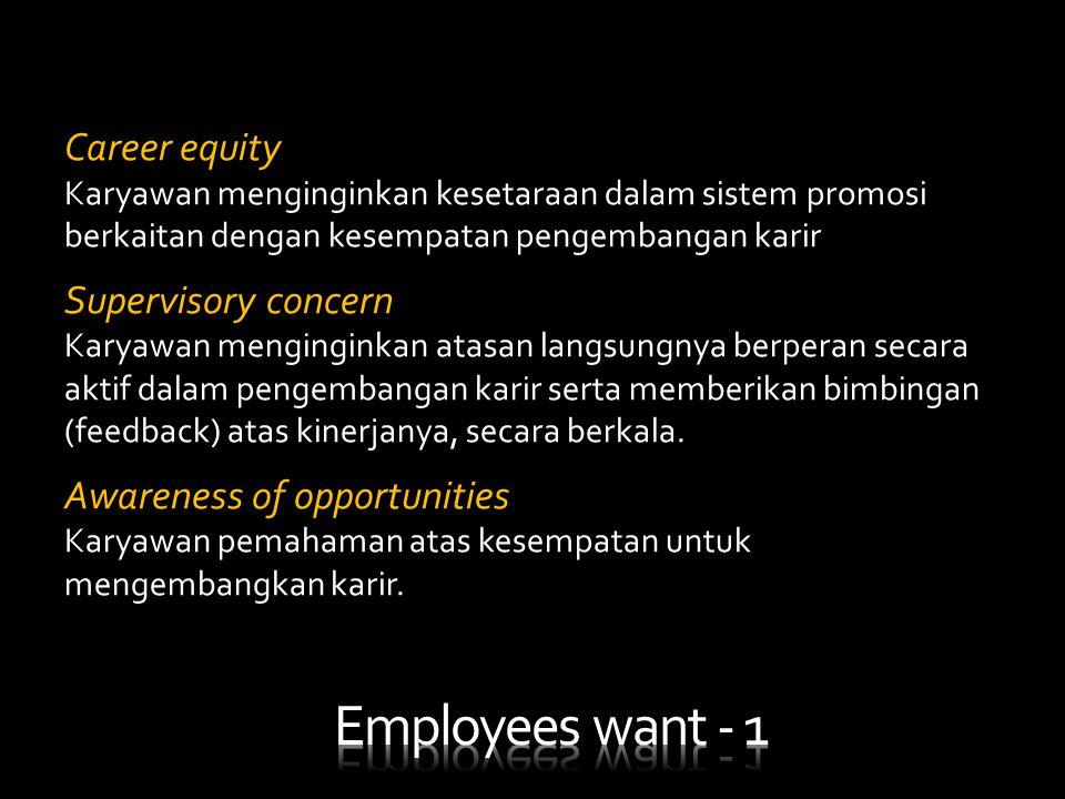 Career equity Karyawan menginginkan kesetaraan dalam sistem promosi berkaitan dengan kesempatan pengembangan karir Supervisory concern Karyawan mengin
