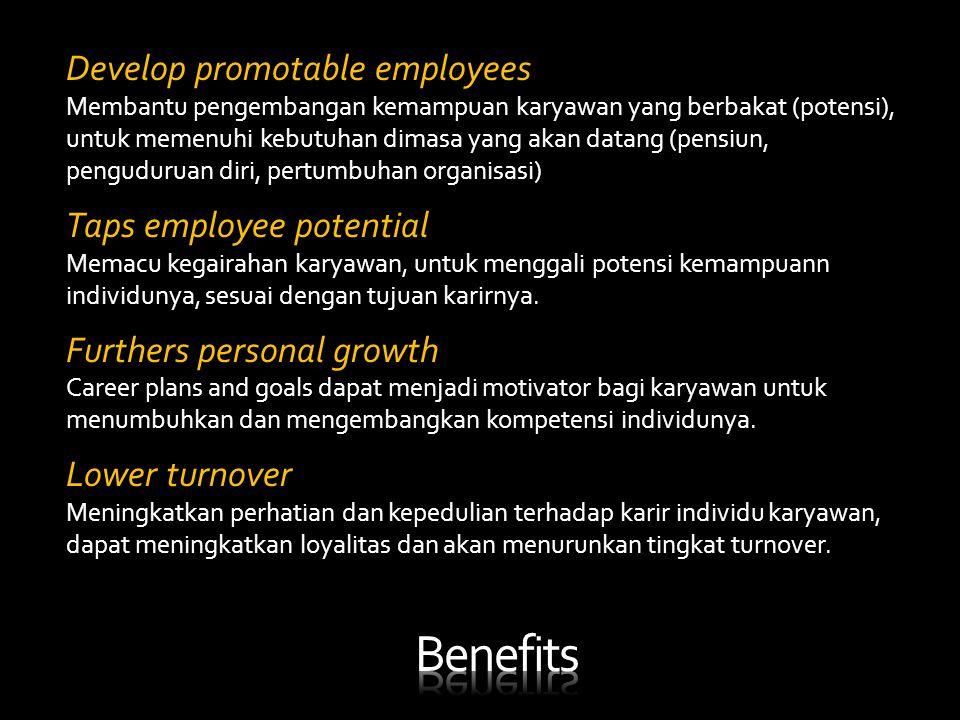 Develop promotable employees Membantu pengembangan kemampuan karyawan yang berbakat (potensi), untuk memenuhi kebutuhan dimasa yang akan datang (pensi