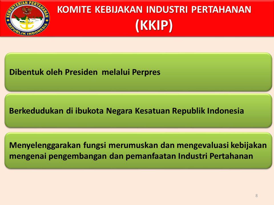 KOMITE KEBIJAKAN INDUSTRI PERTAHANAN (KKIP) 8 Dibentuk oleh Presiden melalui Perpres Berkedudukan di ibukota Negara Kesatuan Republik Indonesia Menyelenggarakan fungsi merumuskan dan mengevaluasi kebijakan mengenai pengembangan dan pemanfaatan Industri Pertahanan