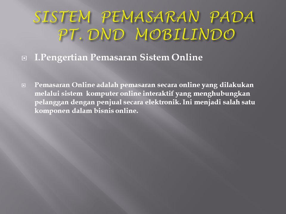  I.Pengertian Pemasaran Sistem Online  Pemasaran Online adalah pemasaran secara online yang dilakukan melalui sistem komputer online interaktif yang