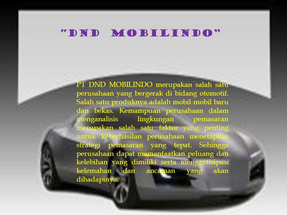 PT DND MOBILINDO merupakan salah satu perusahaan yang bergerak di bidang otomotif. Salah satu produknya adalah mobil-mobil baru dan bekas. Kemampuan p