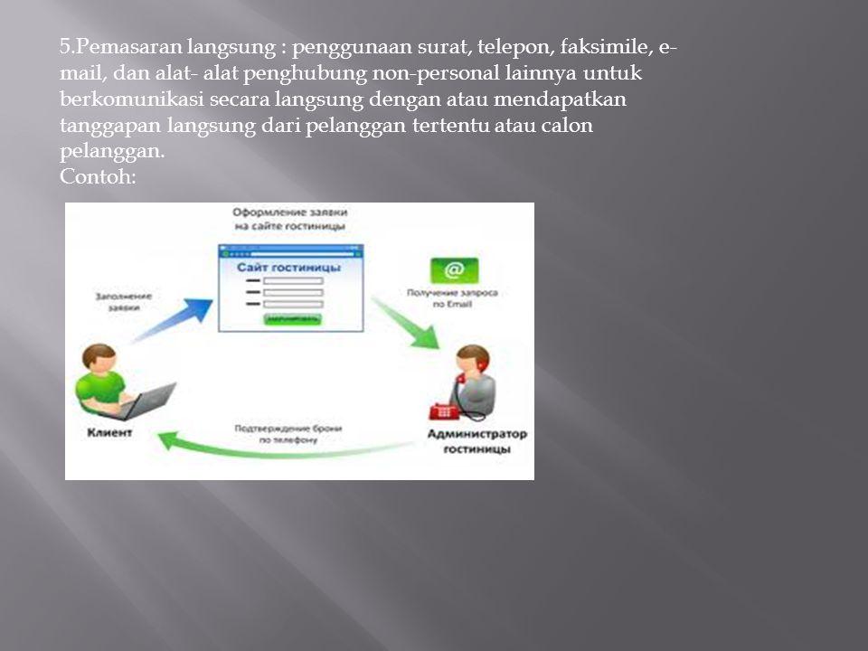 5.Pemasaran langsung : penggunaan surat, telepon, faksimile, e- mail, dan alat- alat penghubung non-personal lainnya untuk berkomunikasi secara langsu