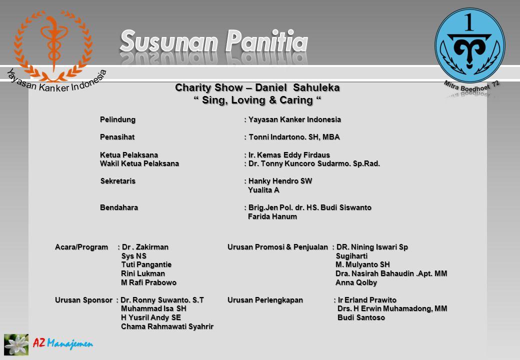 AZ Manajemen Charity Show – Daniel Sahuleka Sing, Loving & Caring Pelindung: Yayasan Kanker Indonesia Penasihat : Tonni Indartono.