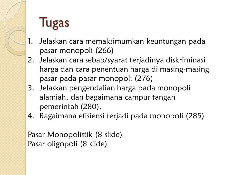 Tugas 1.Jelaskan cara memaksimumkan keuntungan pada pasar monopoli (266) 2.Jelaskan cara sebab/syarat terjadinya diskriminasi harga dan cara penentuan