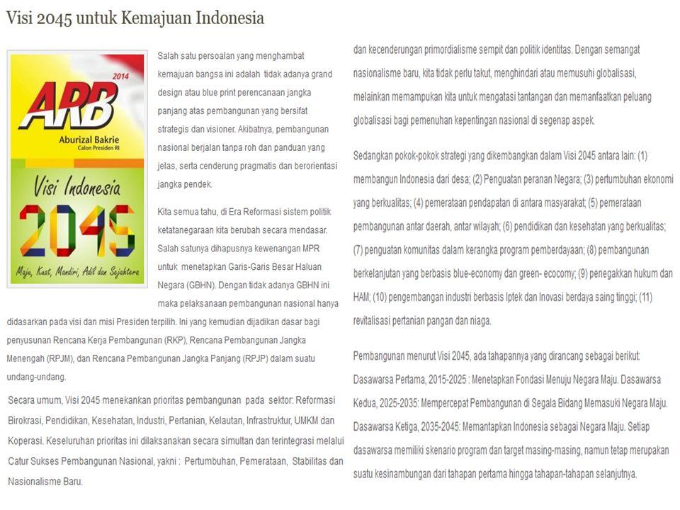 Pada artikel Visi 2045 untuk Kemajuan Indonesia kesimpulannya adalah Visi 2045: Negara Kesejahteraan.