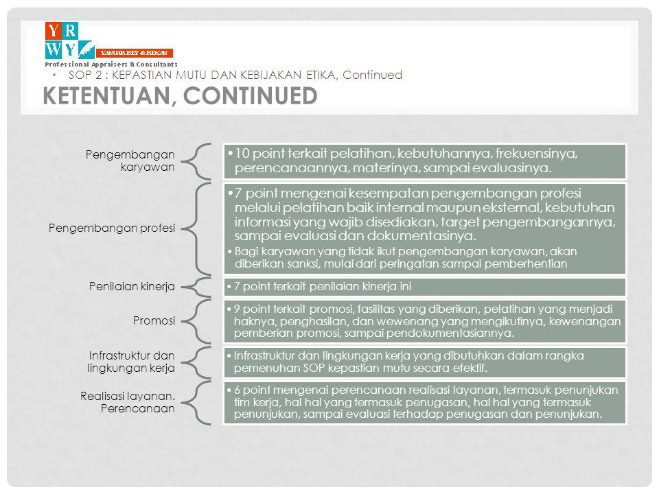 Pengembangan karyawan •10 point terkait pelatihan, kebutuhannya, frekuensinya, perencanaannya, materinya, sampai evaluasinya. Pengembangan profesi •7