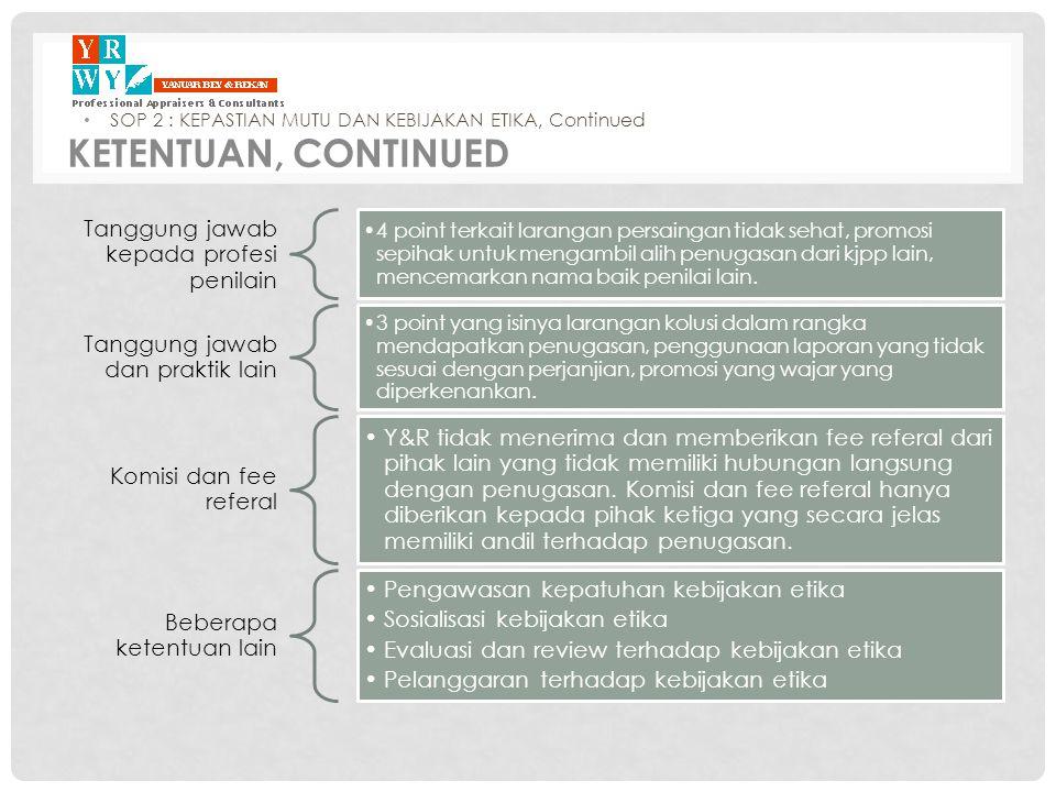 Tanggung jawab kepada profesi penilain •4 point terkait larangan persaingan tidak sehat, promosi sepihak untuk mengambil alih penugasan dari kjpp lain