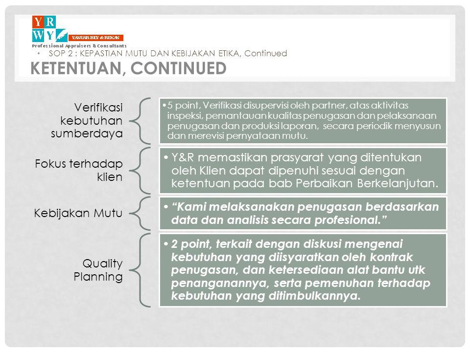 Verifikasi kebutuhan sumberdaya •5 point, Verifikasi disupervisi oleh partner, atas aktivitas inspeksi, pemantauan kualitas penugasan dan pelaksanaan