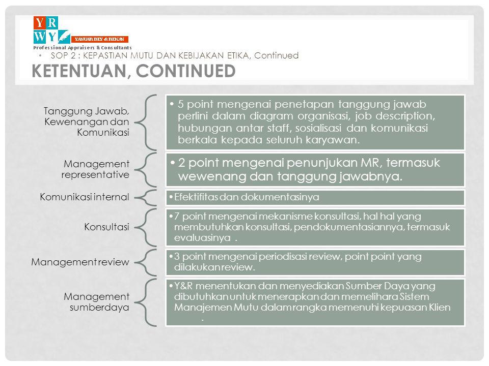 Tanggung Jawab, Kewenangan dan Komunikasi •5 point mengenai penetapan tanggung jawab perlini dalam diagram organisasi, job description, hubungan antar