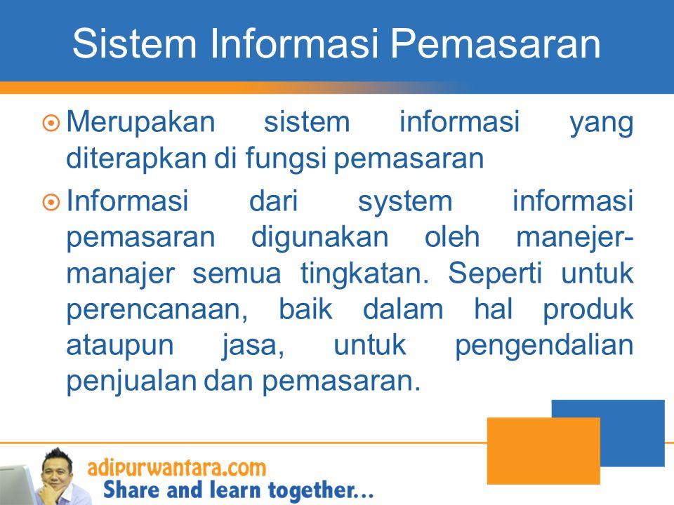 Sistem Informasi Pemasaran  Merupakan sistem informasi yang diterapkan di fungsi pemasaran  Informasi dari system informasi pemasaran digunakan oleh