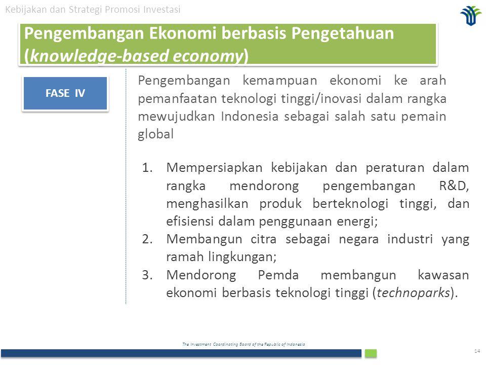 The Investment Coordinating Board of the Republic of Indonesia 14 FASE IV Pengembangan kemampuan ekonomi ke arah pemanfaatan teknologi tinggi/inovasi