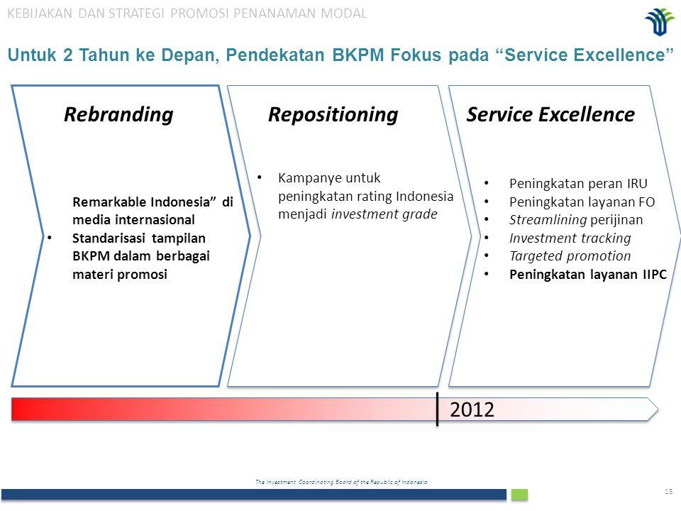 "The Investment Coordinating Board of the Republic of Indonesia 15 Untuk 2 Tahun ke Depan, Pendekatan BKPM Fokus pada ""Service Excellence"" Repositionin"