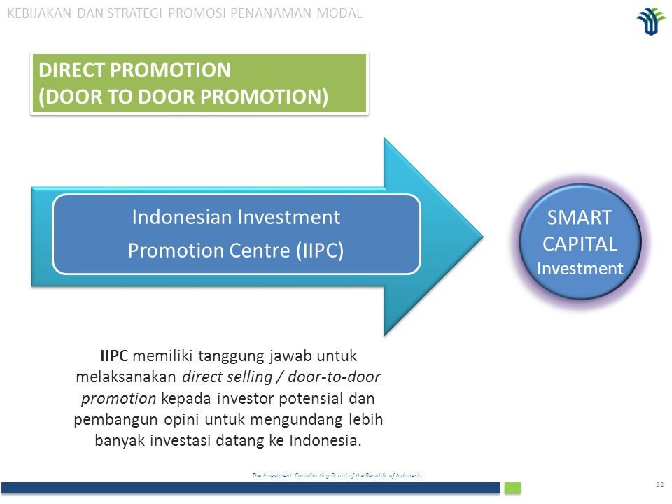 The Investment Coordinating Board of the Republic of Indonesia 22 Indonesian Investment Promotion Centre (IIPC) IIPC memiliki tanggung jawab untuk mel