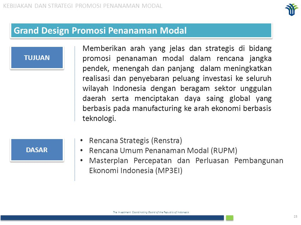 The Investment Coordinating Board of the Republic of Indonesia 25 Grand Design Promosi Penanaman Modal TUJUAN Memberikan arah yang jelas dan strategis