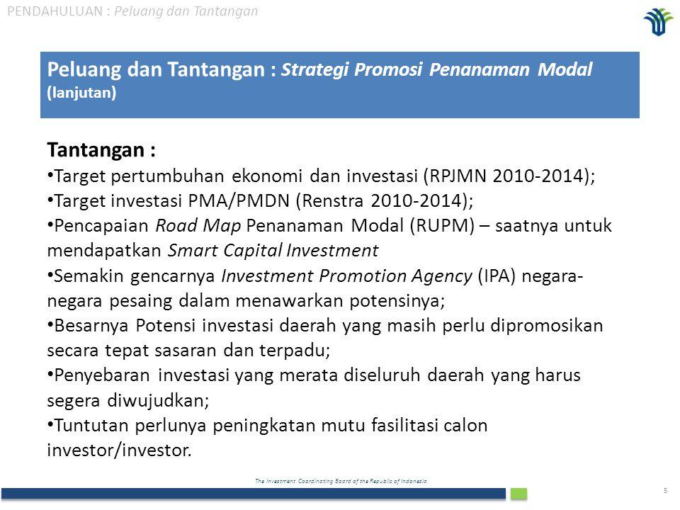 The Investment Coordinating Board of the Republic of Indonesia 6 Target Pertumbuhan Ekonomi Dan Investasi RPJMN 2010 – 2014  Pemerintah menjadikan investasi sebagai pilar pokok pertumbuhan ekonomi yang ditargetkan 6,3 – 6,8% setiap tahun selama 5 tahun (2010 – 2014).