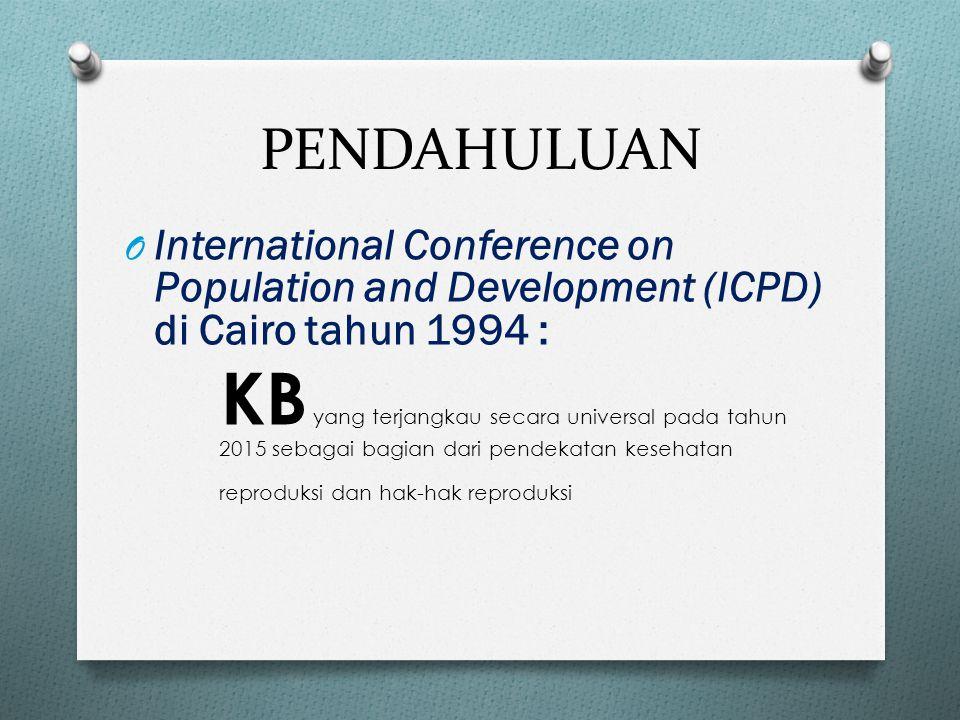 PENDAHULUAN O International Conference on Population and Development (ICPD) di Cairo tahun 1994 : KB yang terjangkau secara universal pada tahun 2015 sebagai bagian dari pendekatan kesehatan reproduksi dan hak-hak reproduksi