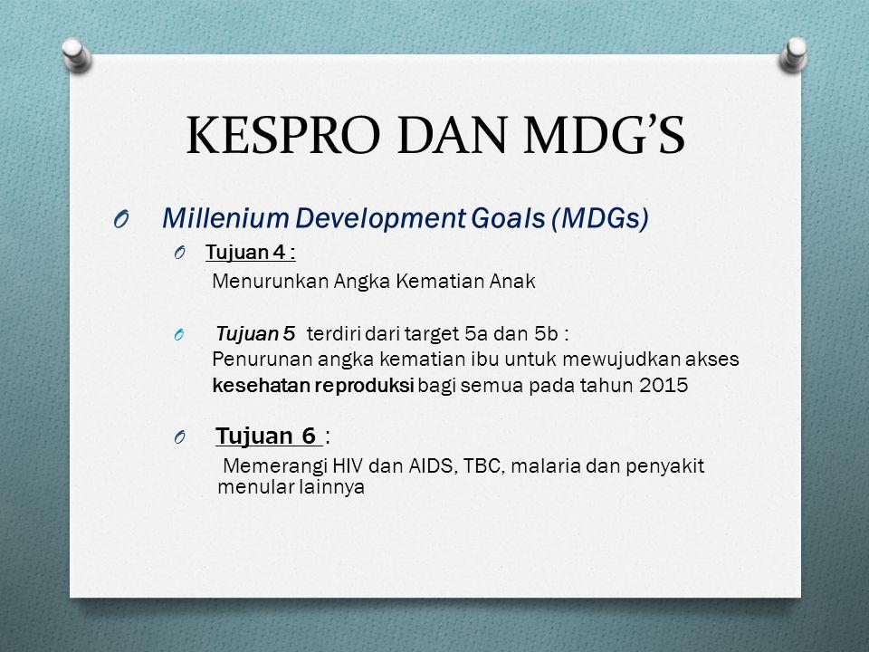 KESPRO DAN MDG'S O Millenium Development Goals (MDGs) O Tujuan 4 : Menurunkan Angka Kematian Anak O Tujuan 5 terdiri dari target 5a dan 5b : Penurunan angka kematian ibu untuk mewujudkan akses kesehatan reproduksi bagi semua pada tahun 2015 O Tujuan 6 : Memerangi HIV dan AIDS, TBC, malaria dan penyakit menular lainnya