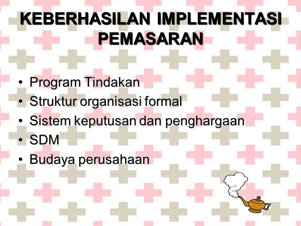KEBERHASILAN IMPLEMENTASI PEMASARAN •Program Tindakan •Struktur organisasi formal •Sistem keputusan dan penghargaan •SDM •Budaya perusahaan