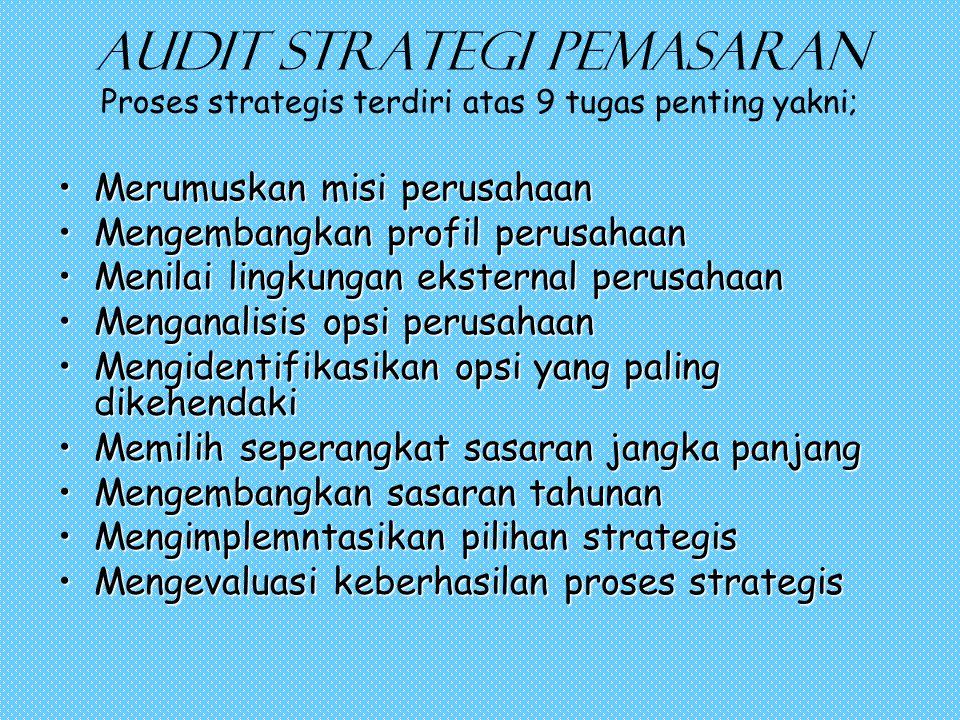 Audit strategi pemasaran Proses strategis terdiri atas 9 tugas penting yakni; •Merumuskan misi perusahaan •Mengembangkan profil perusahaan •Menilai lingkungan eksternal perusahaan •Menganalisis opsi perusahaan •Mengidentifikasikan opsi yang paling dikehendaki •Memilih seperangkat sasaran jangka panjang •Mengembangkan sasaran tahunan •Mengimplemntasikan pilihan strategis •Mengevaluasi keberhasilan proses strategis