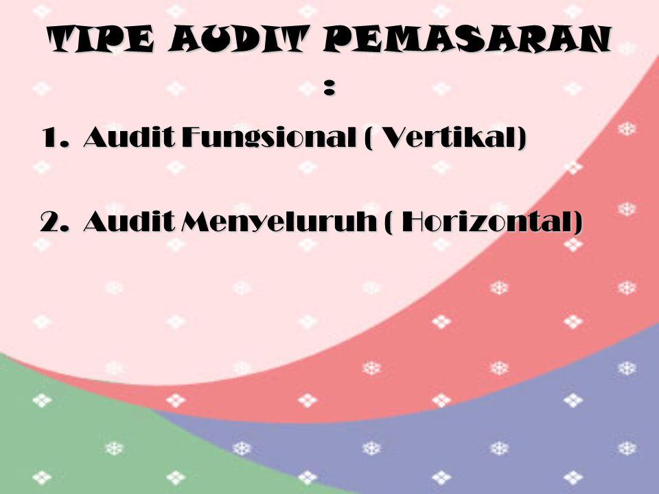 TIPE AUDIT PEMASARAN : 1.Audit Fungsional ( Vertikal) 2.Audit Menyeluruh ( Horizontal)