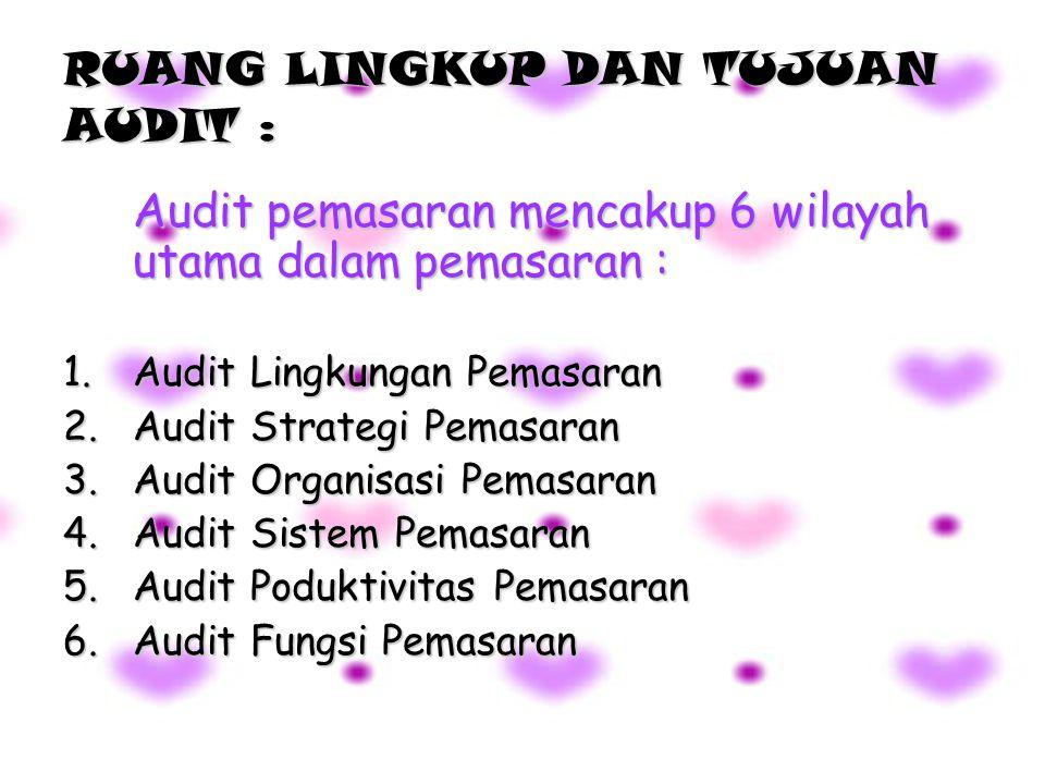 RUANG LINGKUP DAN TUJUAN AUDIT : Audit pemasaran mencakup 6 wilayah utama dalam pemasaran : 1.Audit Lingkungan Pemasaran 2.Audit Strategi Pemasaran 3.Audit Organisasi Pemasaran 4.Audit Sistem Pemasaran 5.Audit Poduktivitas Pemasaran 6.Audit Fungsi Pemasaran