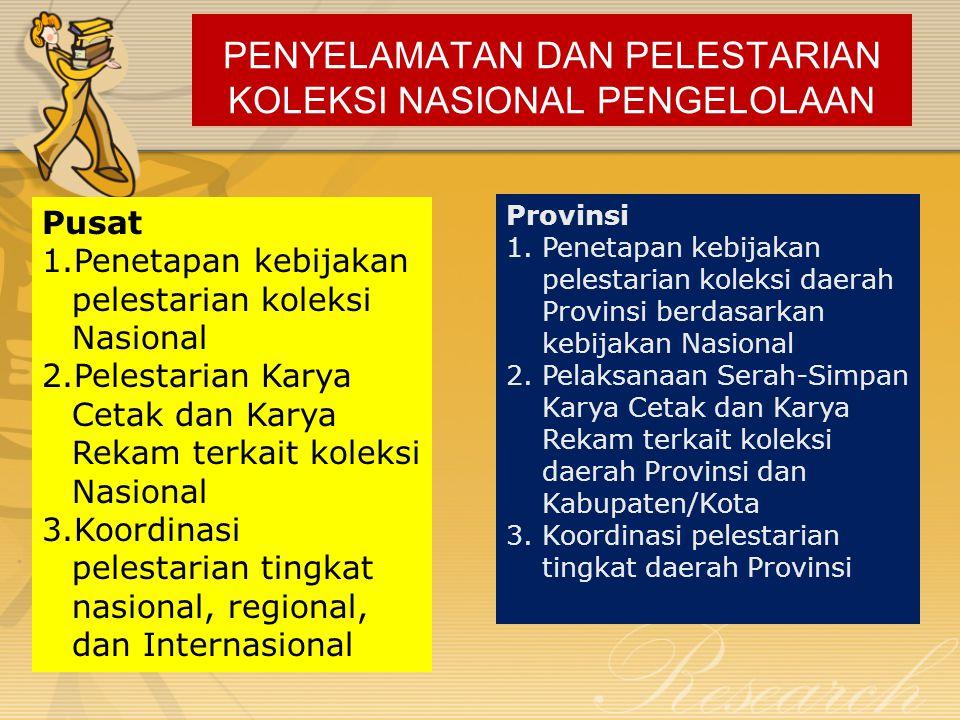 PENYELAMATAN DAN PELESTARIAN KOLEKSI NASIONAL PENGELOLAAN Pusat 1.Penetapan kebijakan pelestarian koleksi Nasional 2.Pelestarian Karya Cetak dan Karya