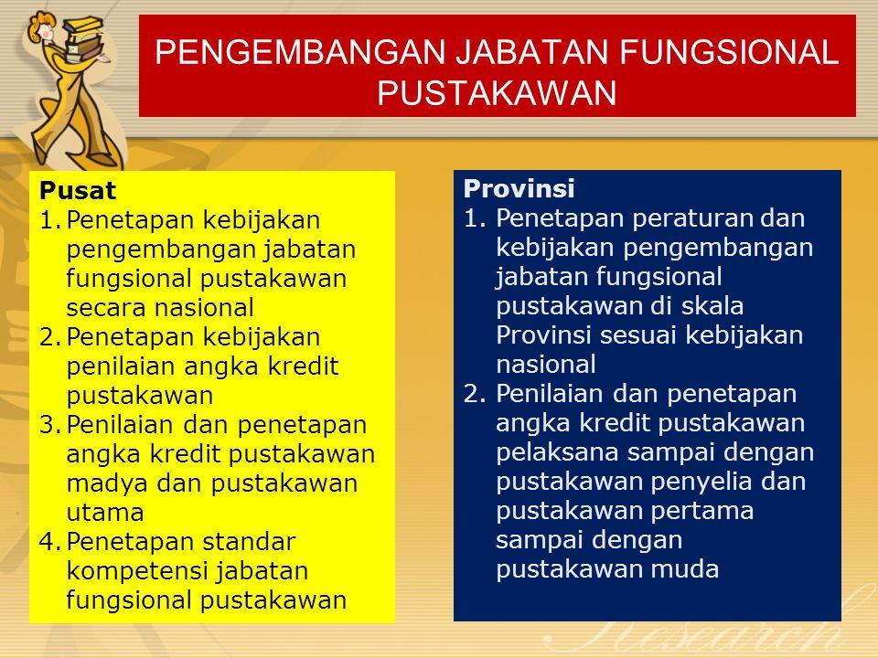 PENGEMBANGAN JABATAN FUNGSIONAL PUSTAKAWAN Pusat 1.Penetapan kebijakan pengembangan jabatan fungsional pustakawan secara nasional 2.Penetapan kebijaka