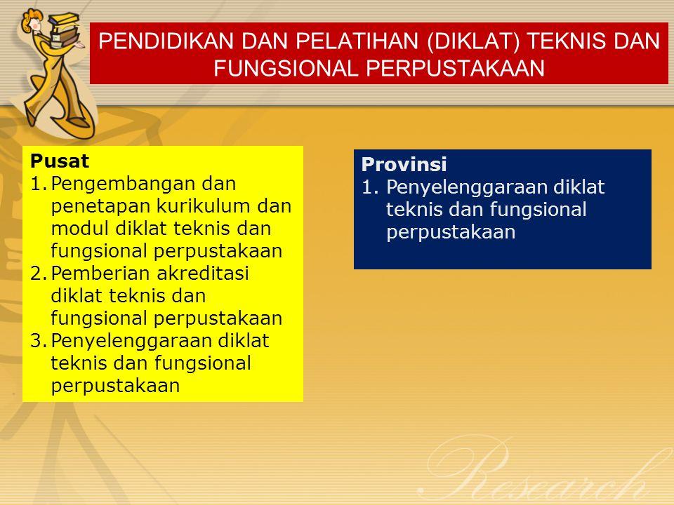 PENDIDIKAN DAN PELATIHAN (DIKLAT) TEKNIS DAN FUNGSIONAL PERPUSTAKAAN Pusat 1.Pengembangan dan penetapan kurikulum dan modul diklat teknis dan fungsion