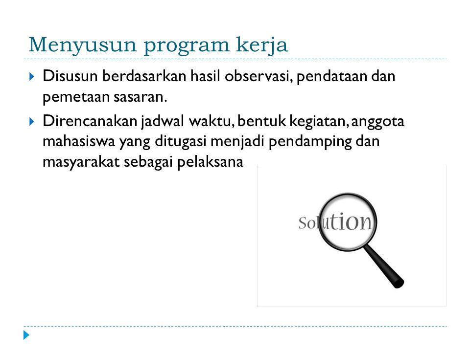 Menyusun program kerja  Disusun berdasarkan hasil observasi, pendataan dan pemetaan sasaran.
