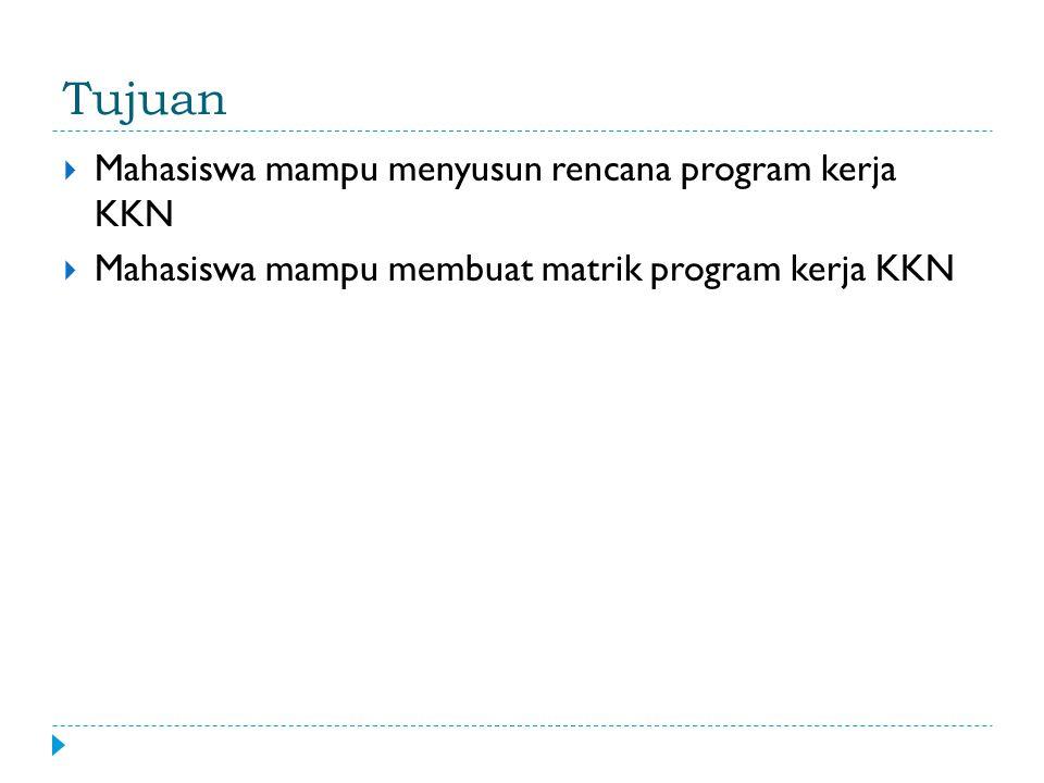Tujuan  Mahasiswa mampu menyusun rencana program kerja KKN  Mahasiswa mampu membuat matrik program kerja KKN