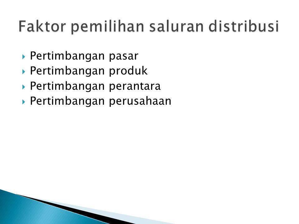  Pertimbangan pasar  Pertimbangan produk  Pertimbangan perantara  Pertimbangan perusahaan
