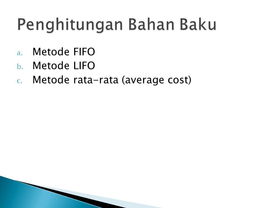 a. Metode FIFO b. Metode LIFO c. Metode rata-rata (average cost)