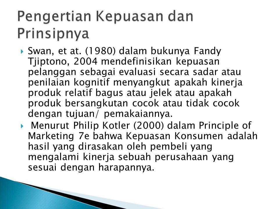  Swan, et at. (1980) dalam bukunya Fandy Tjiptono, 2004 mendefinisikan kepuasan pelanggan sebagai evaluasi secara sadar atau penilaian kognitif menya