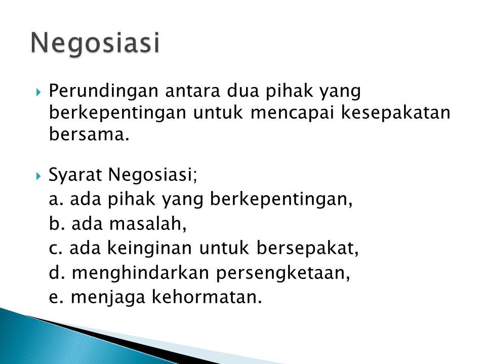 2.Negoisasi dalam jual-beli; a. harga barang yang diperjual- belikan, b.