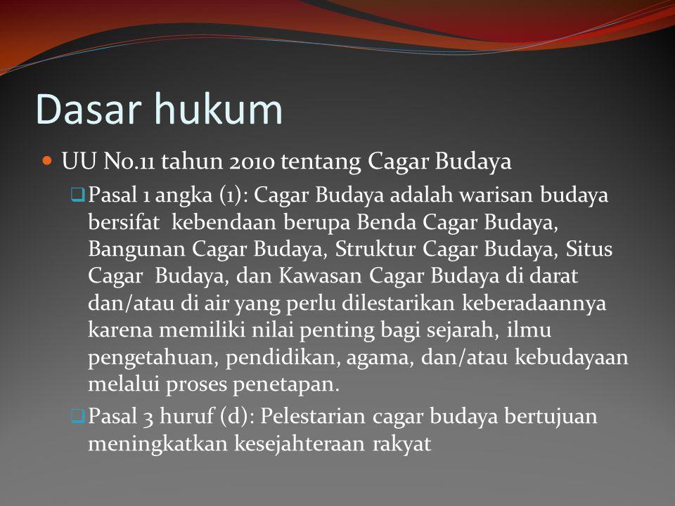 Dasar hukum  UU No.11 tahun 2010 tentang Cagar Budaya  Pasal 1 angka (1): Cagar Budaya adalah warisan budaya bersifat kebendaan berupa Benda Cagar B