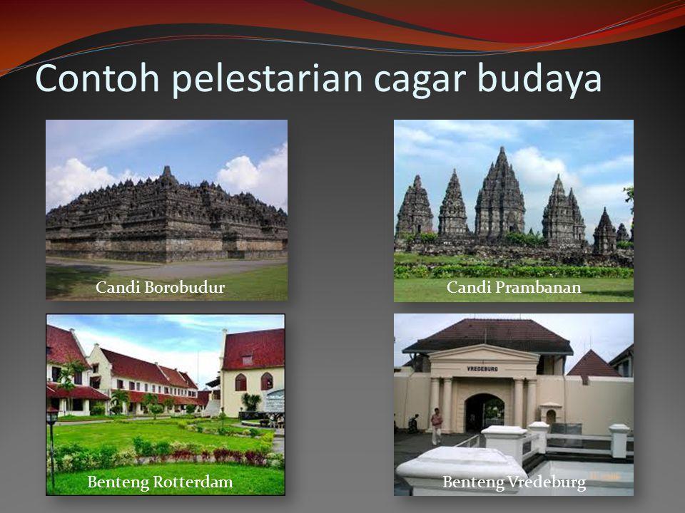Contoh pelestarian cagar budaya Candi BorobudurCandi Prambanan Benteng VredeburgBenteng Rotterdam