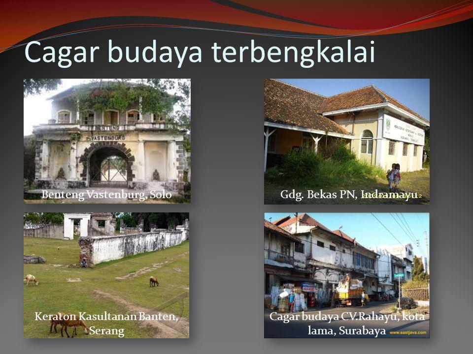 Cagar budaya terbengkalai Benteng Vastenburg, Solo Keraton Kasultanan Banten, Serang Gdg. Bekas PN, Indramayu Cagar budaya CV.Rahayu, kota lama, Surab